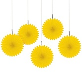 Yellow Mini Paper Rosette Fans - Baby Shower Decorations - Set of 5