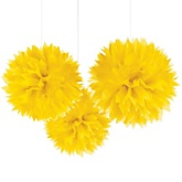 Yellow Tissue Paper Pom Poms - Baby Shower Decorations - Set of 3