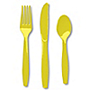 Yellow - Birthday Party Forks, Knives, Spoons - 24 ct