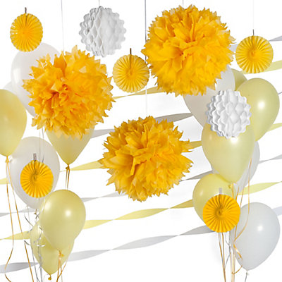 Yellow & White - Bridal Shower Decoration Kit