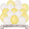 Yellow and White - Birthday Party Latex Balloons - 16 ct