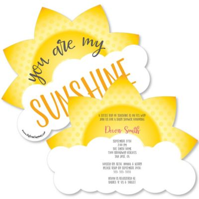 You Are My Sunshine Shaped Baby Shower Invitations