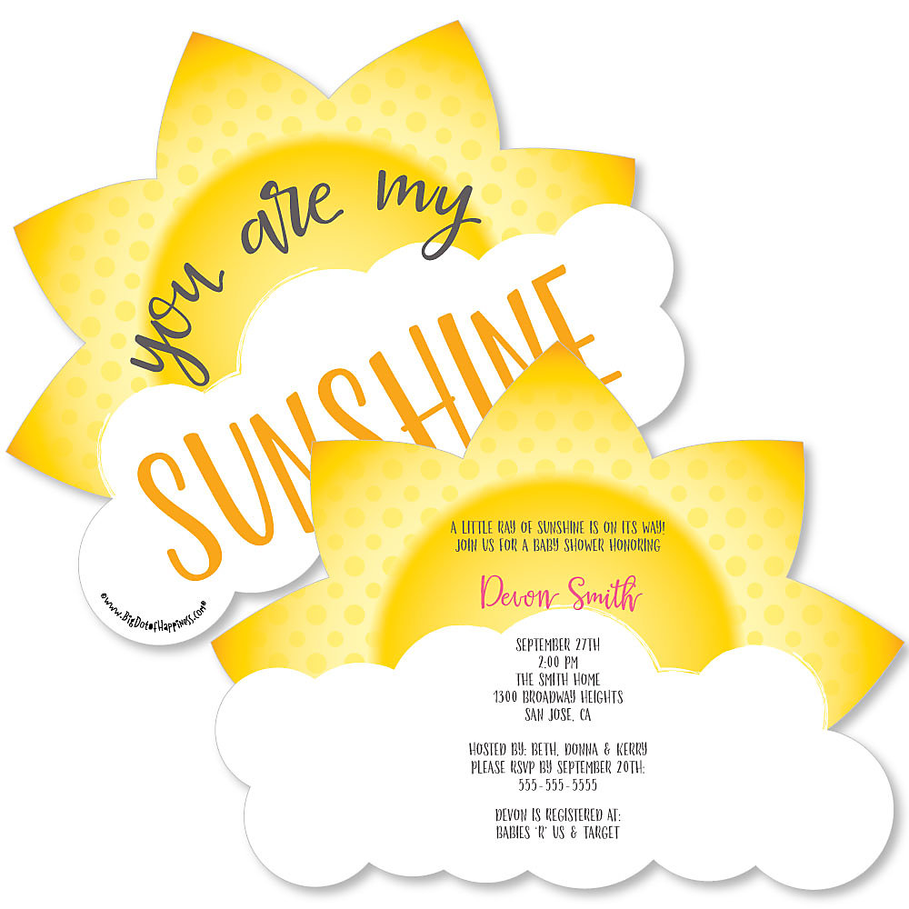 More Views. You Are My Sunshine   Shaped Baby Shower Invitations ...