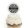 Zebra - Personalized Birthday Party Cupcake Pick and Sticker Kit - 12 ct