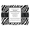 Zebra - Personalized Birthday Party Invitations