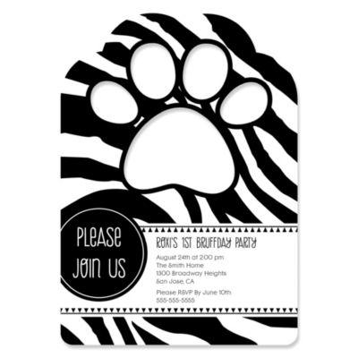 Zebra Paw Shaped Personalized Dog Party Invitations