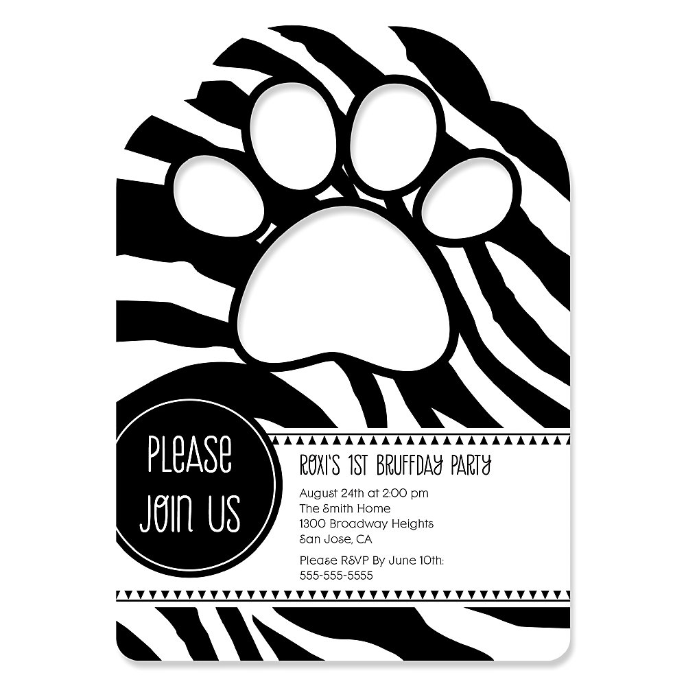 Zebra Paw Shaped Personalized Dog Party Invitations – Dog Party Invitation