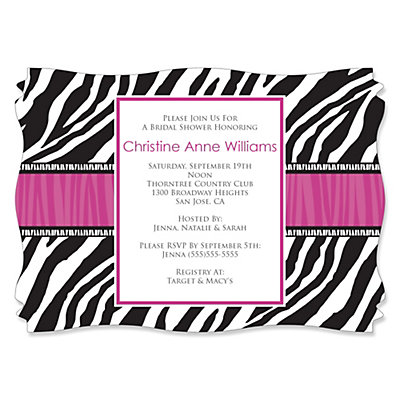 Zebra Hot Pink - Personalized Bridal Shower Invitations