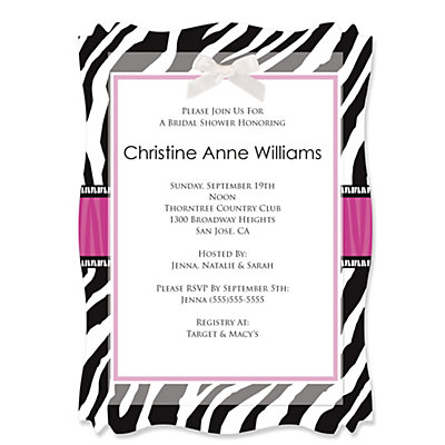 Zebra Hot Pink - Personalized Bridal Shower Vellum Overlay Invitations