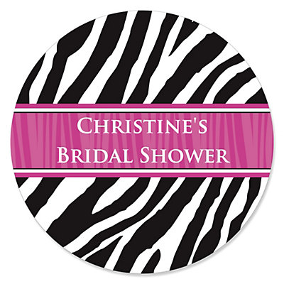 Zebra Hot Pink - Personalized Bridal Shower Sticker Labels - 24 ct
