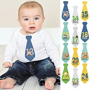 Zoo Animals - Baby Monthly Tie Sticker Set - 12 Necktie Pieces