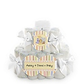 Zoo Crew - 2 Tier Personalized Square Baby Shower Diaper Cake