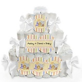 Zoo Crew - 3 Tier Personalized Square Baby Shower Diaper Cake