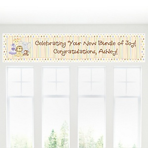Zoo Crew - Zoo Animals Personalized Baby Shower Banners