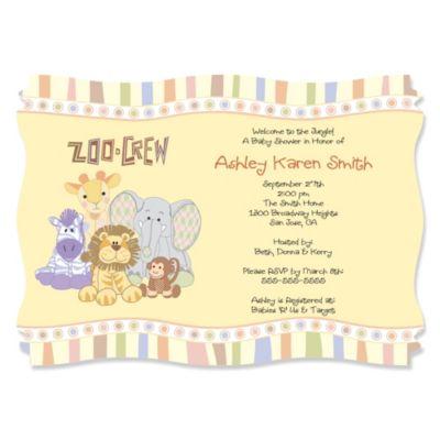 zoo crew zoo animals baby shower invitations