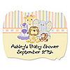 Zoo Crew - Personalized Baby Shower Squiggle Stickers - 16 ct
