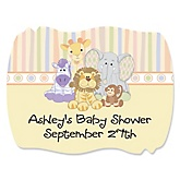 Zoo Crew - Personalized Baby Shower Squiggle Sticker Labels - 16 Count