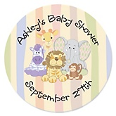 Zoo Crew - Personalized Baby Shower Round Sticker Labels - 24 Count