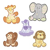 Zoo Crew - Shaped Baby Shower Paper Cut-Outs - 24 Count