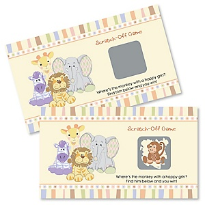 Zoo Crew - Zoo Animals Personalized Baby Shower or Birthday Party Game Scratch Off Cards - 22 ct