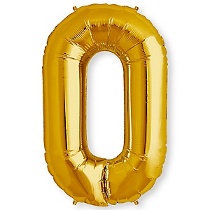 "Gold - ""0"" Shaped - Mylar Balloon - 34"""