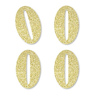 Gold Glitter 0 - No-Mess Real Gold Glitter Cut-Out Numbers - Zero Party Confetti - Set of 24