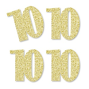 Gold Glitter 10 - No-Mess Real Gold Glitter Cut-Out Numbers - 10th Birthday Party Confetti - Set of 24