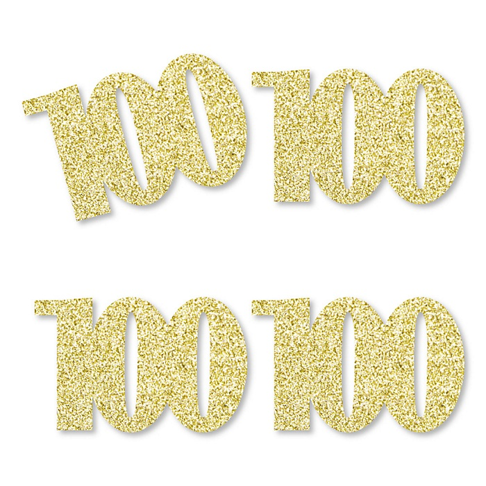 Gold Glitter 100 - No-Mess Real Gold Glitter Cut-Out Numbers - 100th Birthday Party Confetti - Set of 24