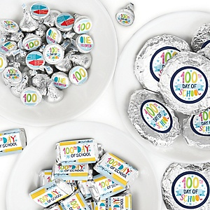 Happy 100th Day of School - Mini Candy Bar Wrappers, Round Candy Stickers and Circle Stickers - 100 Days Party Candy Favor Sticker Kit - 304 Pieces