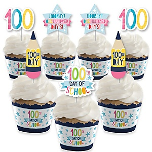 Happy 100th Day of School - Cupcake Decoration - 100 Days Party Cupcake Wrappers and Treat Picks Kit - Set of 24