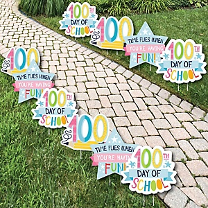 Happy 100th Day of School - Backpack, School Bus, Apple and Books Lawn Decorations - Outdoor 100 Days Party Yard Decorations - 10 Piece