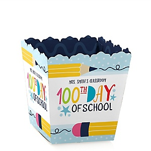 Happy 100th Day of School - Party Mini Favor Boxes - Personalized 100 Days Party and Treat Candy Boxes - Set of 12