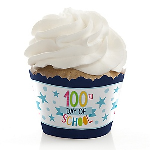 Happy 100th Day of School - 100 Days Party - Party Cupcake Wrappers - Set of 12