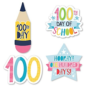 Happy 100th Day of School - DIY Shaped 100 Days Party Cut-Outs - 24 ct