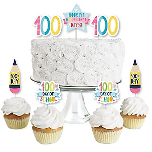 Happy 100th Day of School - Dessert Cupcake Toppers - 100 Days Party Clear Treat Picks - Set of 24