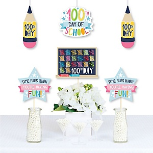 Happy 100th Day of School - Backpack, School Bus, Apple and Books Decorations Diy 100 Days Party Essentials - Set of 20