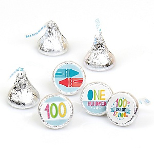Happy 100th Day of School - Round Candy Labels 100 Days Party Favors - Fits Hershey's Kisses - 108 ct