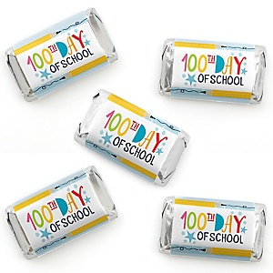 Happy 100th Day of School - Mini Candy Bar Wrapper Stickers - 100 Days Party Small Favors - 40 Count