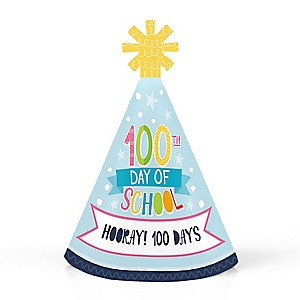 Happy 100th Day of School - Personalized Mini Cone 100 Days Party Hats - Small Little Party Hats - Set of 10