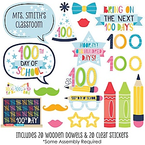 Happy 100th Day of School - 20 Piece 100 Days Party and Photo Booth Props Kit