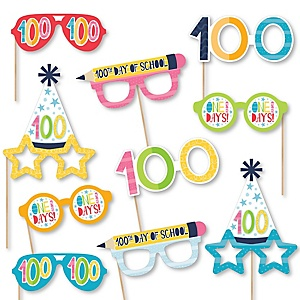 Happy 100th Day of School Glasses - Paper Card Stock 100 Days Party Photo Booth Props Kit - 10 Count