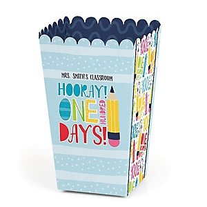 Happy 100th Day of School - 100 Days Party and Favor Popcorn Treat Boxes - Set of 12