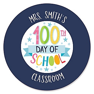 Happy 100th Day of School - Personalized 100 Days Party Circle Sticker Labels - 24 Count