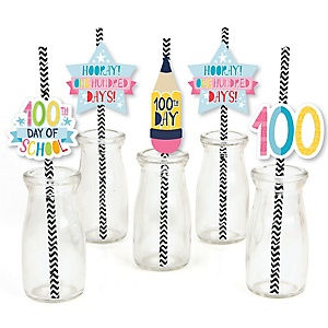 Happy 100th Day of School - Paper Straw Decor - 100 Days Party Striped Decorative Straws - Set of 24