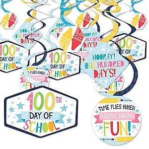 Happy 100th Day of School - 100 Days Party Hanging Decor - Party Decoration Swirls - Set of 40