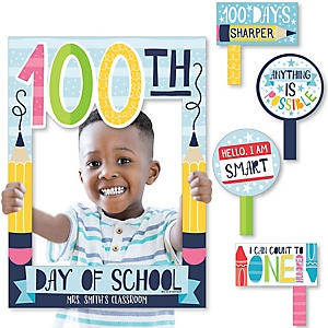 Happy 100th Day of School - Personalized 100 Days Party Selfie Photo Booth Picture Frame & Props - Printed on Sturdy Material