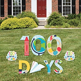 Happy 100th Day of School - Yard Sign Outdoor Lawn Decorations - 100 Days Party Yard Signs - 100 Days