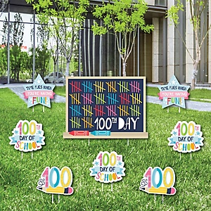 Happy 100th Day of School - Yard Sign & Outdoor Lawn Decorations - 100 Days Party Yard Signs - Set of 8