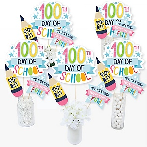 Happy 100th Day of School - 100 Days Party and Centerpiece Sticks - Table Toppers - Set of 15