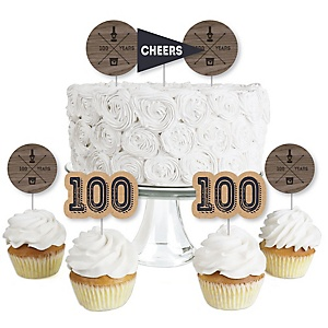 100th Milestone Birthday - Dashingly Aged to Perfection - Dessert Cupcake Toppers - Birthday Party Clear Treat Picks - Set of 24